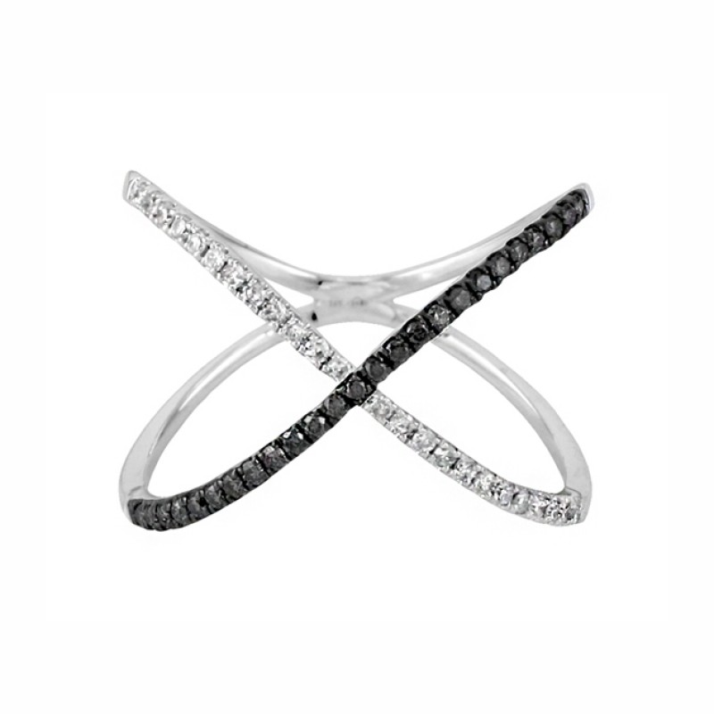 Black And White Diamond Quot X Quot Ring