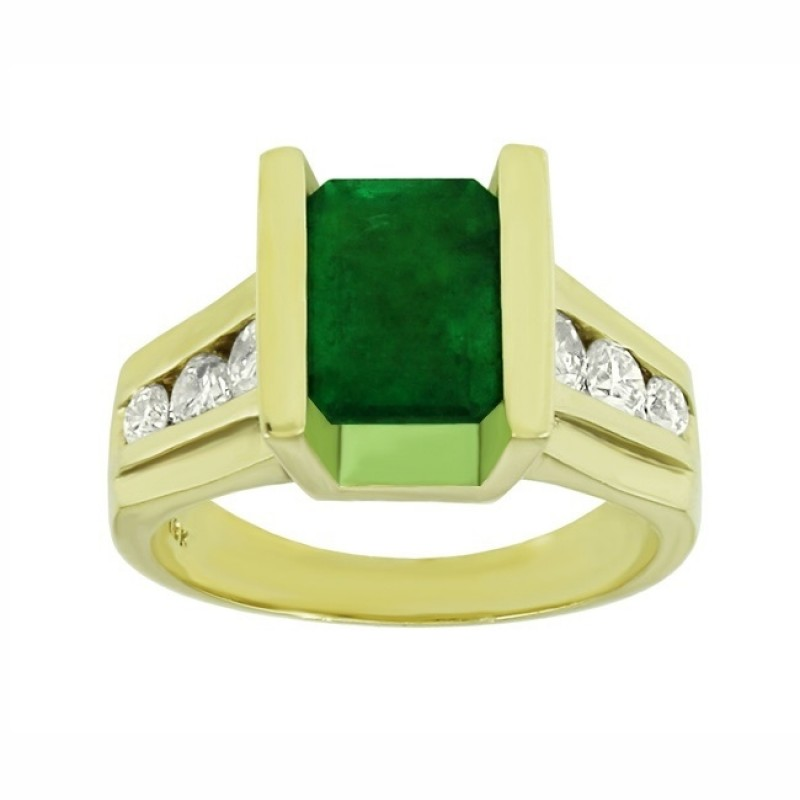 Channel-Set Emerald and Diamond Ring 23935