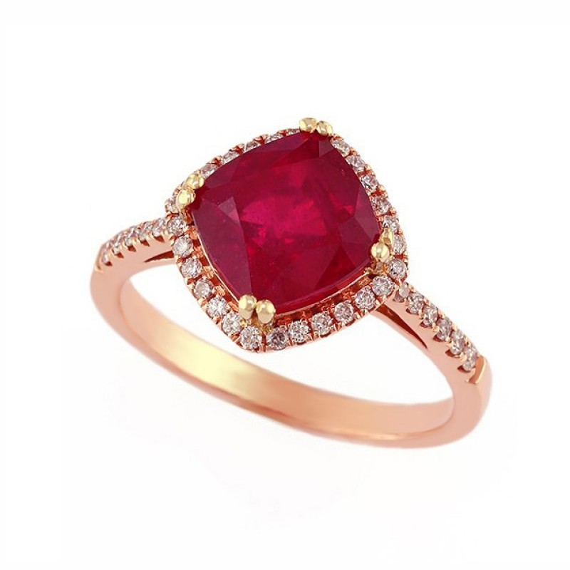 Cushion Cut Ruby and Diamond Ring 27909
