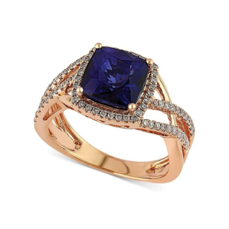 Cushion Cut Sapphire and Diamond Ring 27906