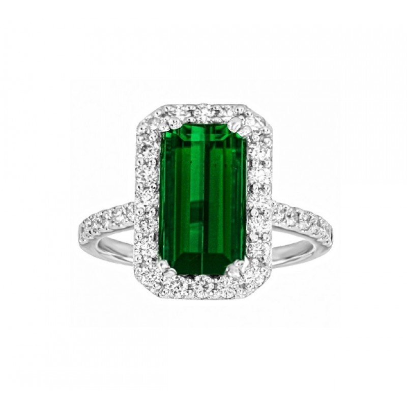 emerald cut green tourmaline and ring
