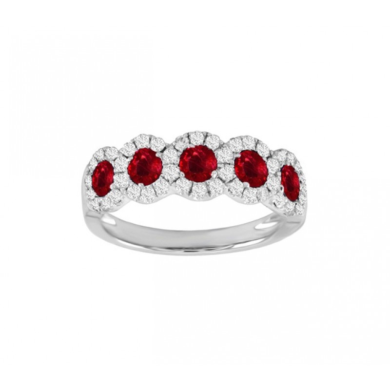 Five Stone Ruby and Diamond Ring Top 24533