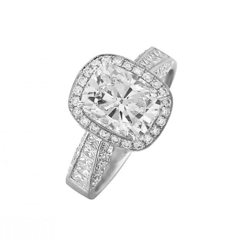 JB Star Cushion Cut Diamond Halo Ring Side 1468-024