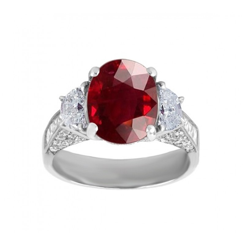 JB Star Three Stone Ruby and Diamond Ring Top 1423/359