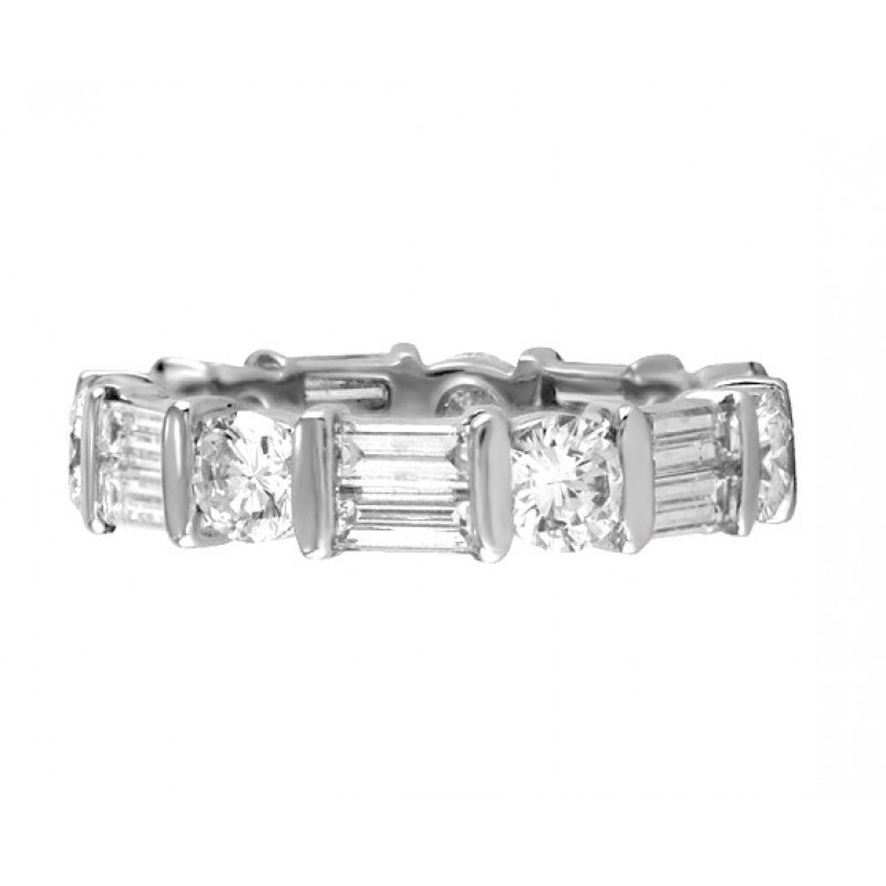 band ct pn bands cut eternity polished baguette ring platinum princess diamond