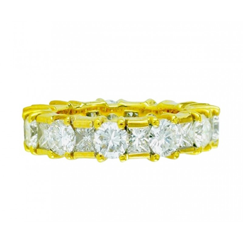Martin Flyer Princess Cut and Round Diamond Eternity Band Top 15612
