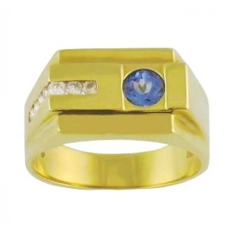 yellow tanzanite diamond signet and hand mens second pre gold ring owned
