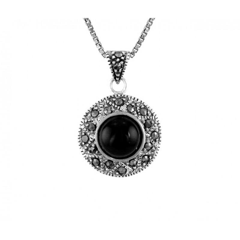 Onyx and marcasite pendant aloadofball Images