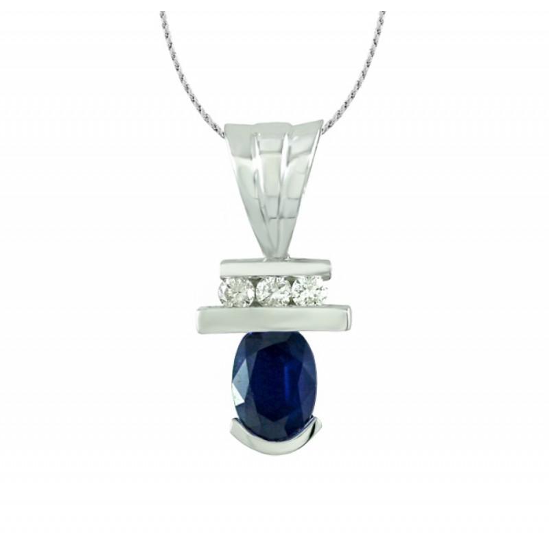 Oval Sapphire and Diamond Pendant 27530
