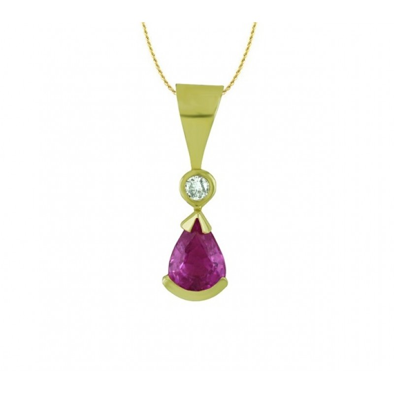 Pear Shape Pink Sapphire and Diamond Pendant 17262