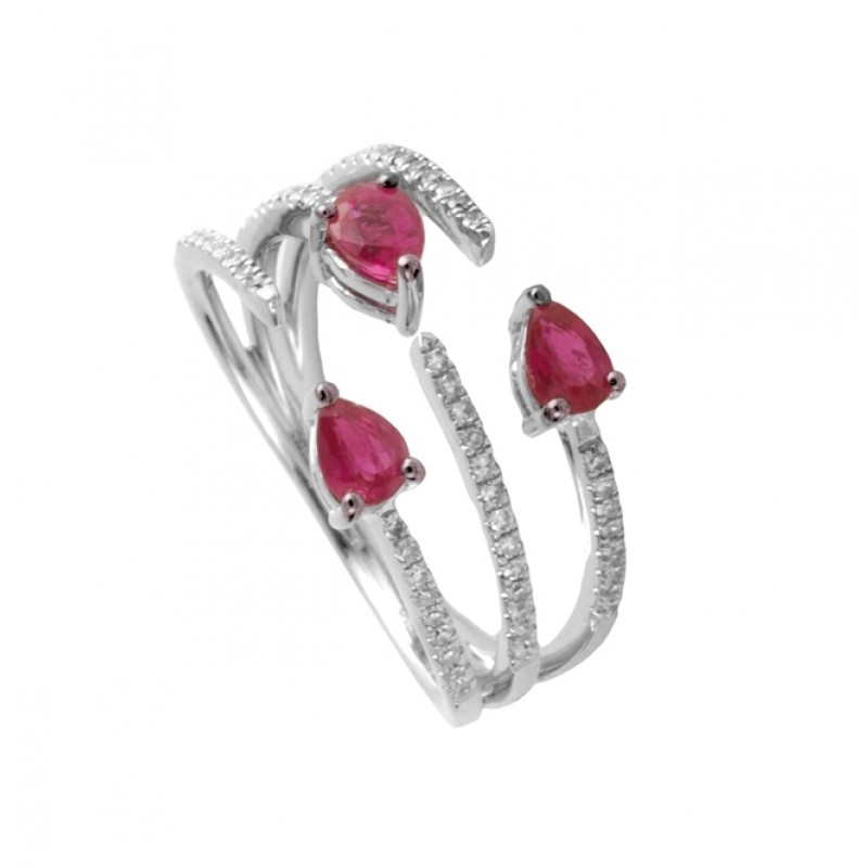 Pink Sapphire and Diamond Cuff Ring 25903