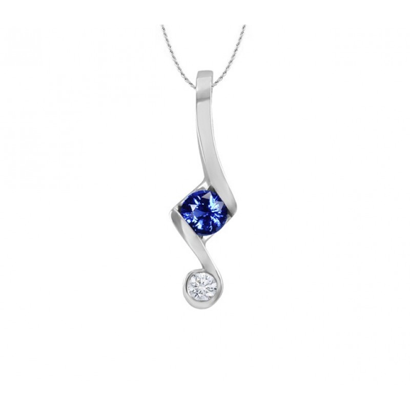Sapphire and Diamond Push Present Pendant 24269