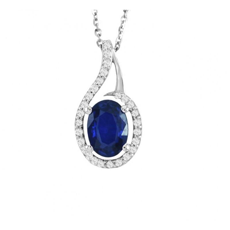 Sapphire and Diamond Swirl Pendant 24576