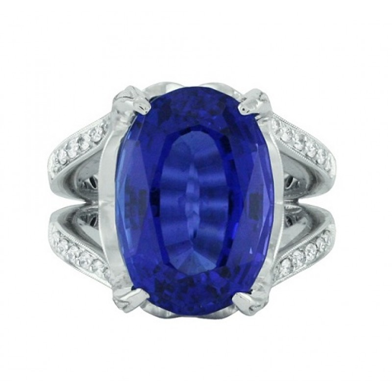 carat oval bridal ring engagement diamond tanzanite