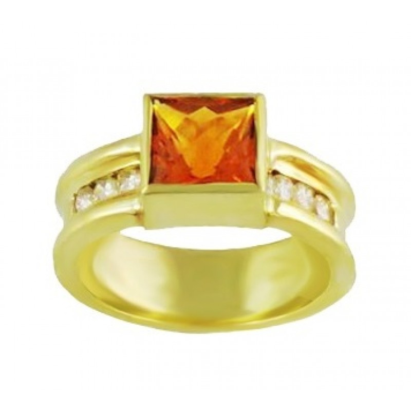 Square Citrine and Diamond Ring 19310