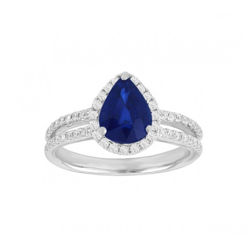 Teardrop Sapphire and Diamond Ring 23745