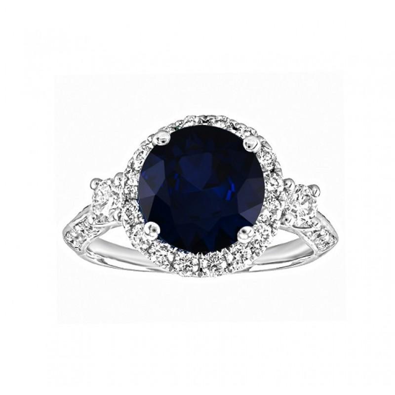 Three Stone Round Sapphire and Diamond Ring Top 23473