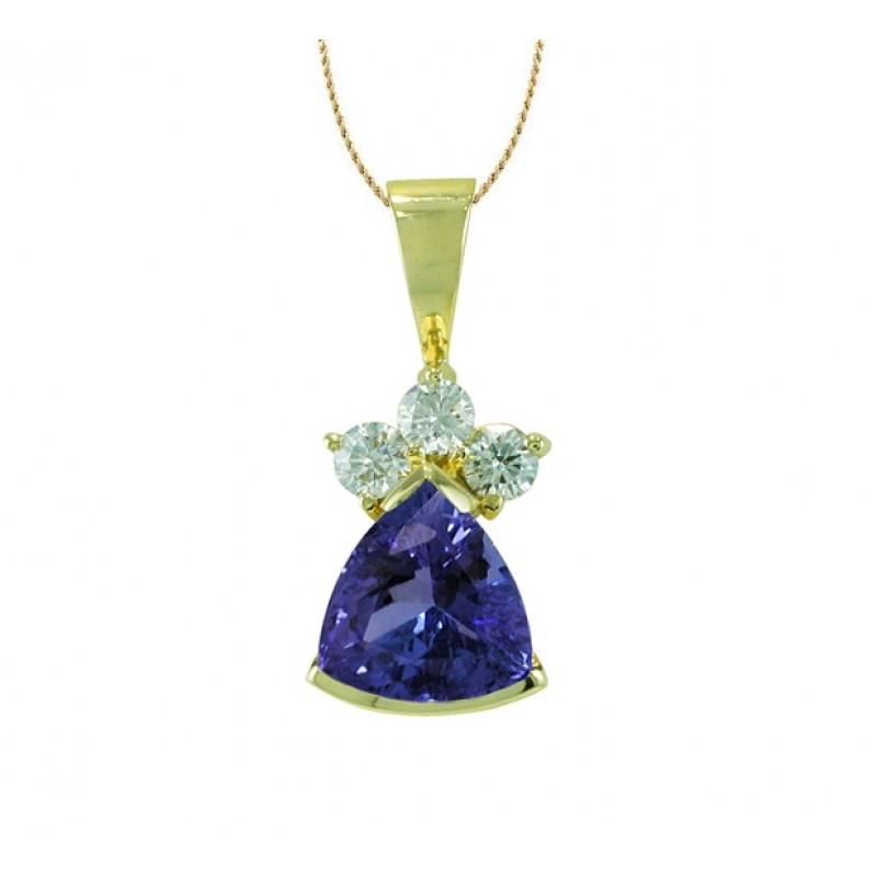 Trillion cut tanzanite and diamond pendant mozeypictures Choice Image