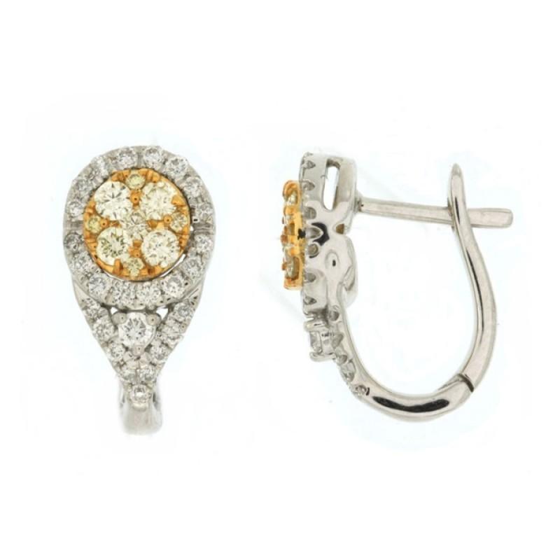 Yellow and White Diamond Halo Earrings 27758