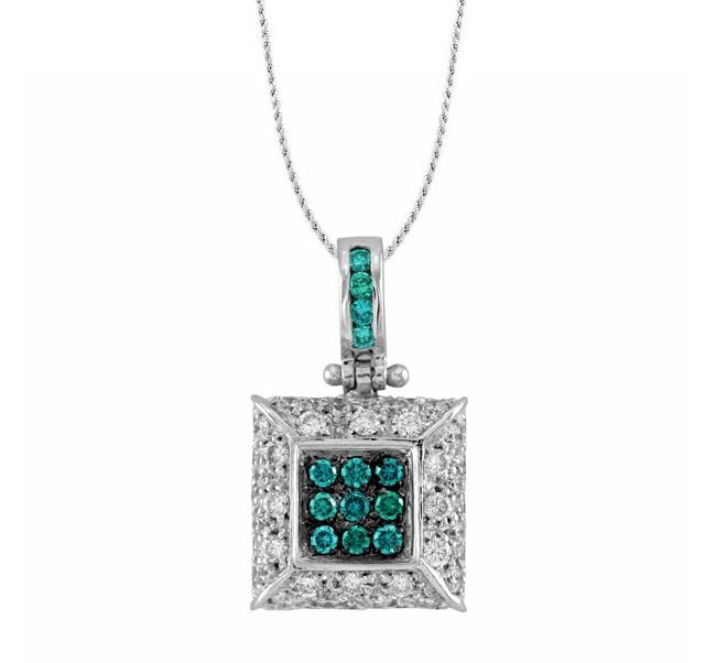 Square Frame Blue And White Diamond Pendant