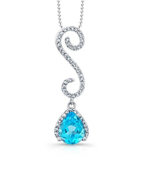 Blue Topaz and Curvy Diamond Pendant 24349