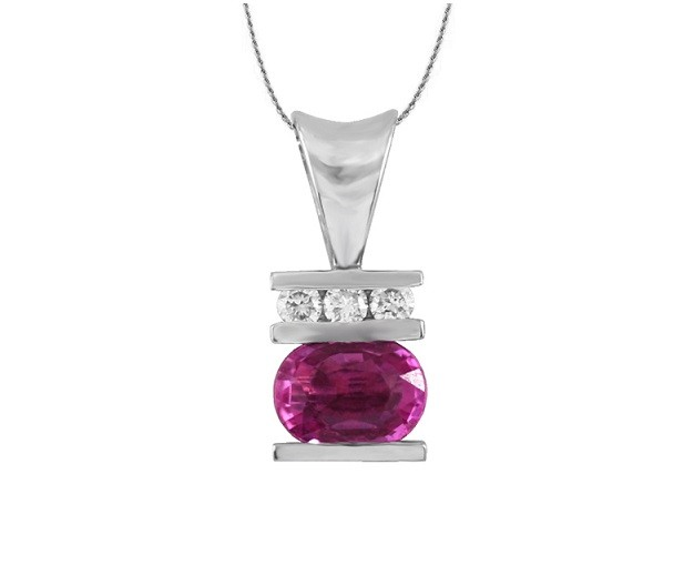 Channel Set Pink Sapphire and Diamond Pendant 17266