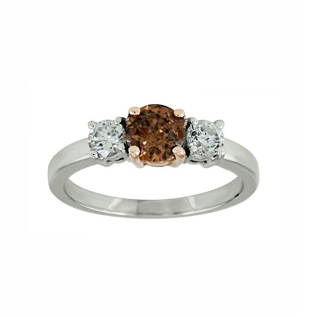 Chocolate and White Diamond Three Stone Ring 28545