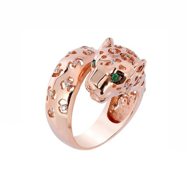 Emerald and Diamond Panther Ring 27911