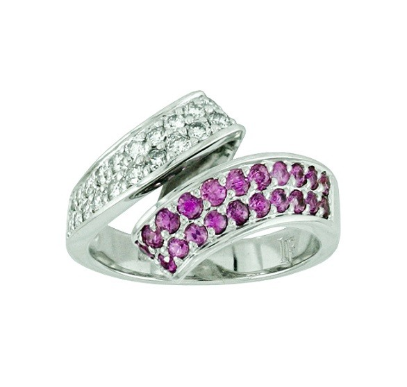 Féraud Pink Sapphire and Diamond Bypass Ring SH031-GSRB