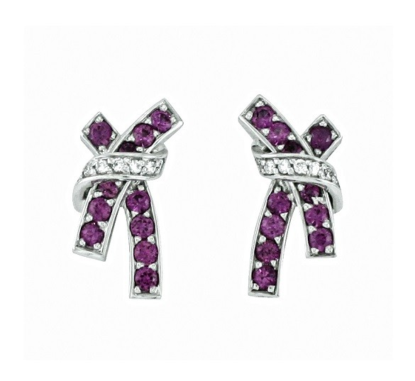 Féraud Pink Sapphire and Diamond Crisscross Earrings FR04BE004