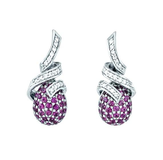 Féraud Pink Sapphire and Diamond Spiral Earrings FR05AE015