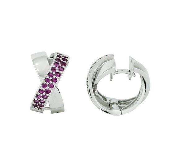Féraud Pink Sapphire Crisscross Earrings SH316XSR