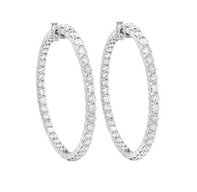 Inside Outside Diamond Hoop Earrings 28070