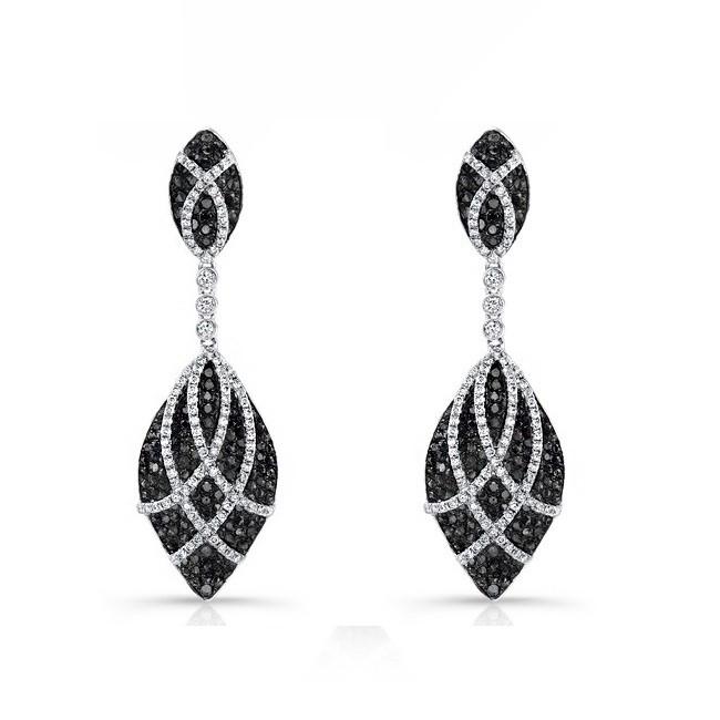 Marquise Frame Black and White Diamond Earrings 25593