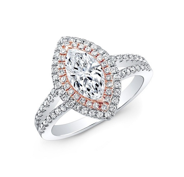 Marquise Shape Double Diamond Halo Ring Top 25725