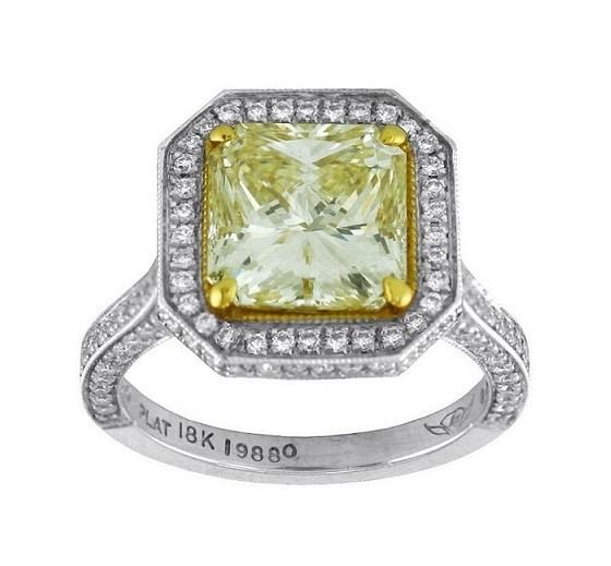 Martin Flyer Radiant Cut Fancy Yellow Diamond Ring Top 5212ACPLTZ-19880