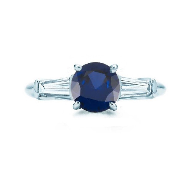Martin Flyer Round Sapphire and Baguette Diamond Ring A4378 23181