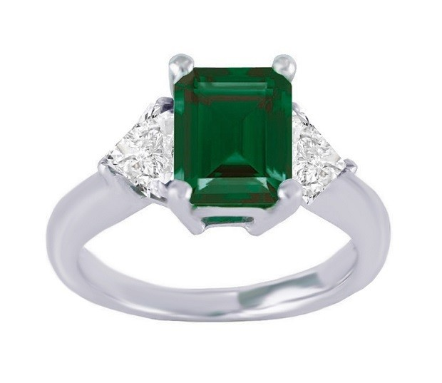 Martin Flyer Three Stone Emerald and Diamond Ring Top 5144PL-14082