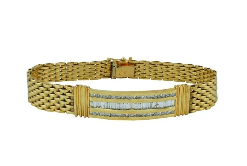 Mens Channel Set Baguette Diamond Bracelet