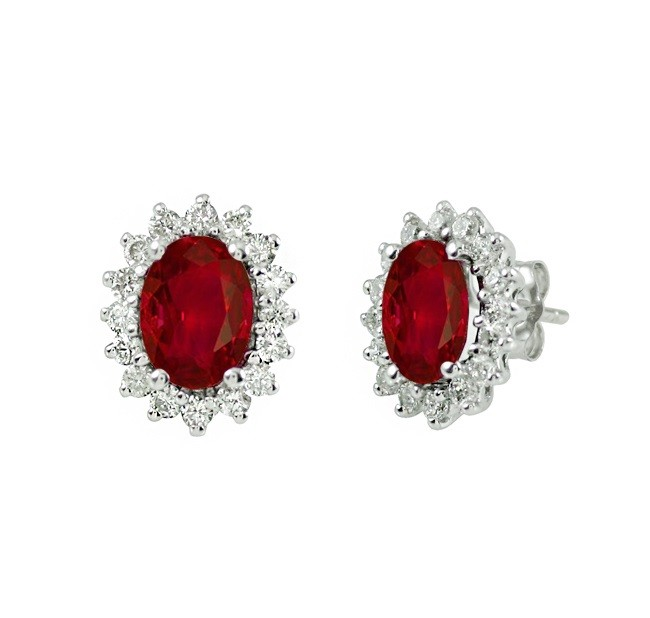 Oval Ruby and Diamond Earrings 27532