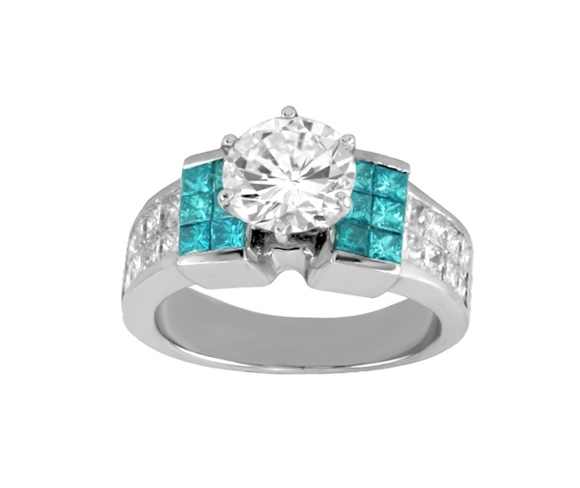 Princess Cut Blue and White Diamond Engagement Ring 21915-top
