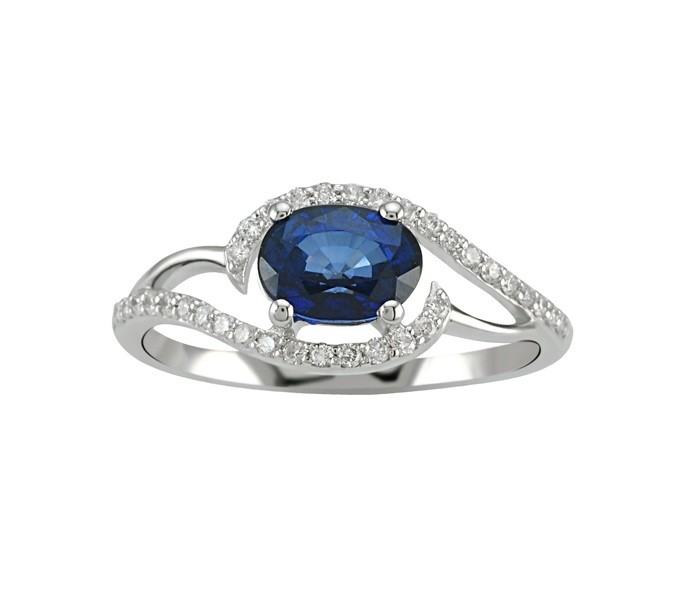 Sapphire and Diamond Swirl Ring 24577