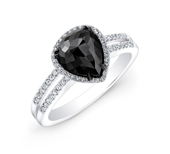 Split Shank Black and White Diamond Halo Engagement Ring 25408