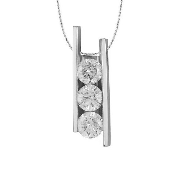 Three Stone Diamond Pendant 20189