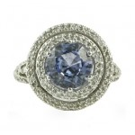 Barry Kronen Blue Sapphire and Diamond Halo Ring Top S-2554WDBS