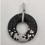 Black and White Diamond Circle Pendant 28849