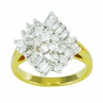 Round and Baguette Diamond Cluster Ring 17143