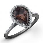 Black Sterling Silver Pear Shaped Smokey Quartz Diamond Halo Ring
