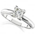14k White Gold 1/2 Ct. Solitaire Princess Cut Diamond Ring