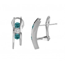 Three Stone Blue and White Diamond Earrings